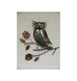 3D Wanddekoration Metall Owl auf Ast