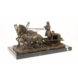 Bronze statue 3 horses with troika