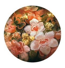 MondiArt Glasschilderij rond groot bloemen dia 120cm