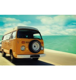 MondiArt Glas schilderij Bus aan strand 80x120cm