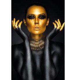 MondiArt Aluminium schilderij  Zwart en goud   80x120cm