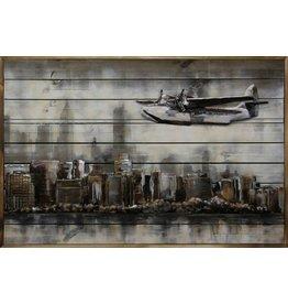 Ter Halle 3d schilderij metaal-hout  Boven NY  80x120cm