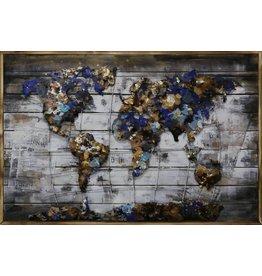 3D painting Metal-wood World 9 80x120cm
