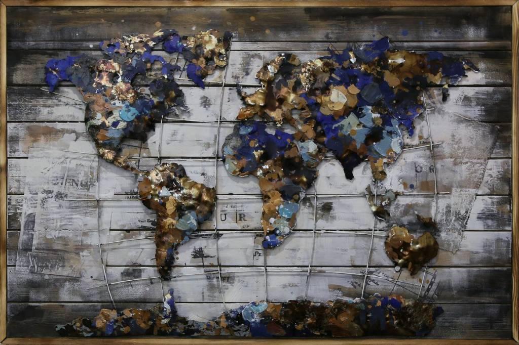 3d Schilderij Metaal.3d Schilderij Metaal Hout Wereld 9 80x120cm