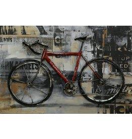 Schilderij 3d Metaal  Fiets 60x40cm