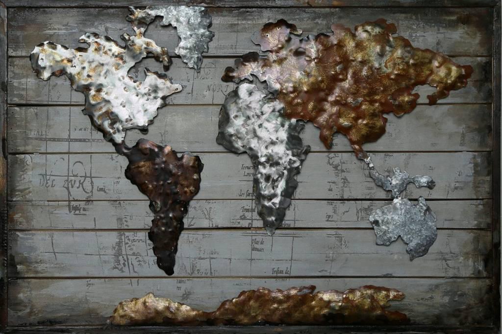 Wanddecoratie Wereldkaart Metaal.Schilderij Hout Metaal 90x60cm Wereldkaart 10 Eliassen Home