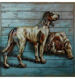 Malerei Stahl Holz 2 Hunde 80x80cm