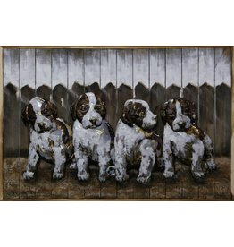 Painting iron-wood Puppies 80x120cm