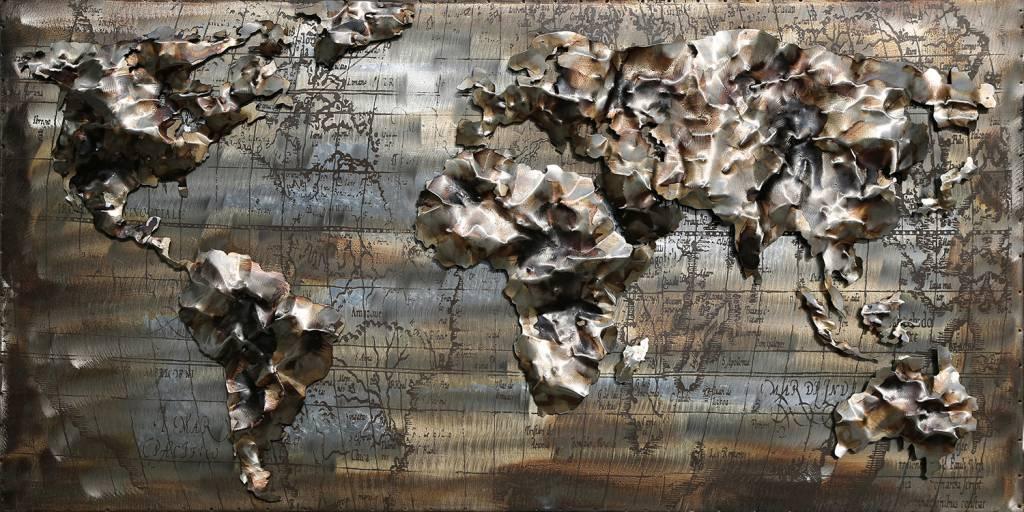 Wanddecoratie Wereldkaart Metaal.3d Schilderij Ijzer 60x120cm Wereldkaart 10 Eliassen Home Garden