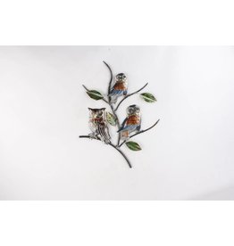 Eliassen 3D wall decoration Owls on branch metal