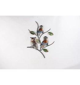 Eliassen 3D wanddecoratie Uilen op tak metaal