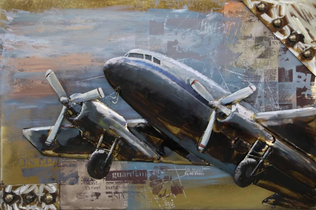 Eliassen Malerei Metall 3d 80x120cm Flugzeug abheben