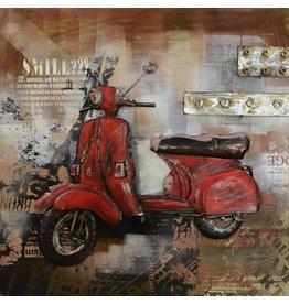 Eliassen 3D schilderij scooter rood 100x100cm