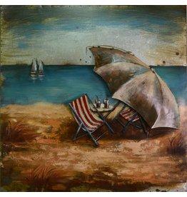 Eliassen 3D schilderij 80x80cm Aan het strand