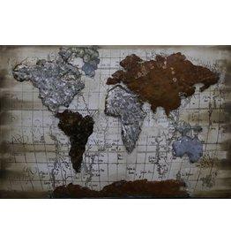 Eliassen 3D schilderij 90x60cm Wereldkaart