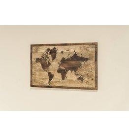 Eliassen Wereldkaart in hout 50x75cm