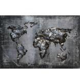 Eliassen 3D schilderij metaal 80x120cm  Wereldkaart zwart