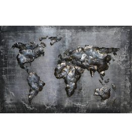 Eliassen 3D painting metal 80x120cm World map black