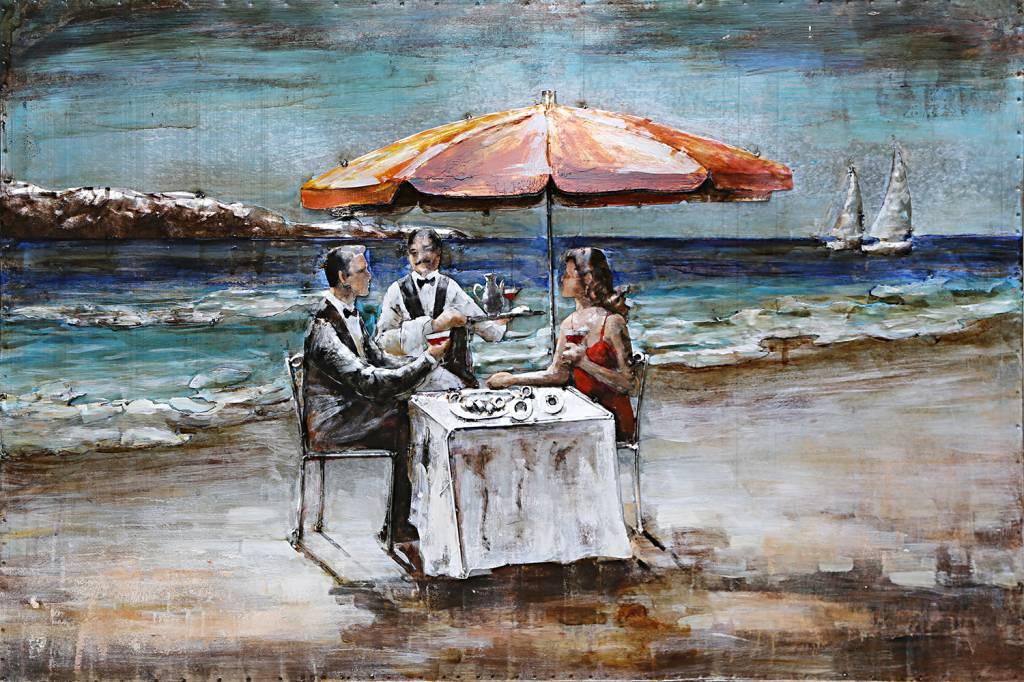 Eliassen 3D Malerei Metall 80x120cm Abendessen Am Strand