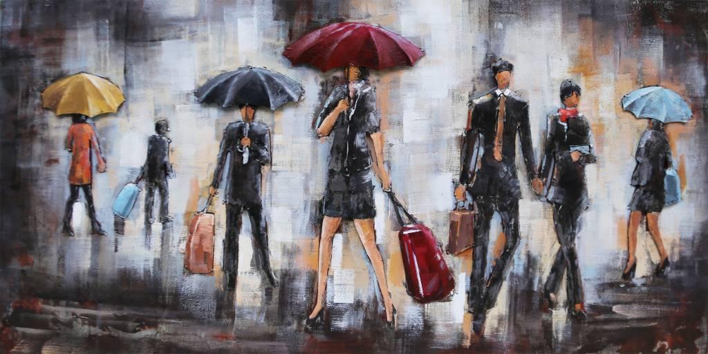 Metalen schilderij 3d 60x120cm Regenweer