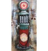 Metalen schilderij 3d 60x120cm Red Star pomp