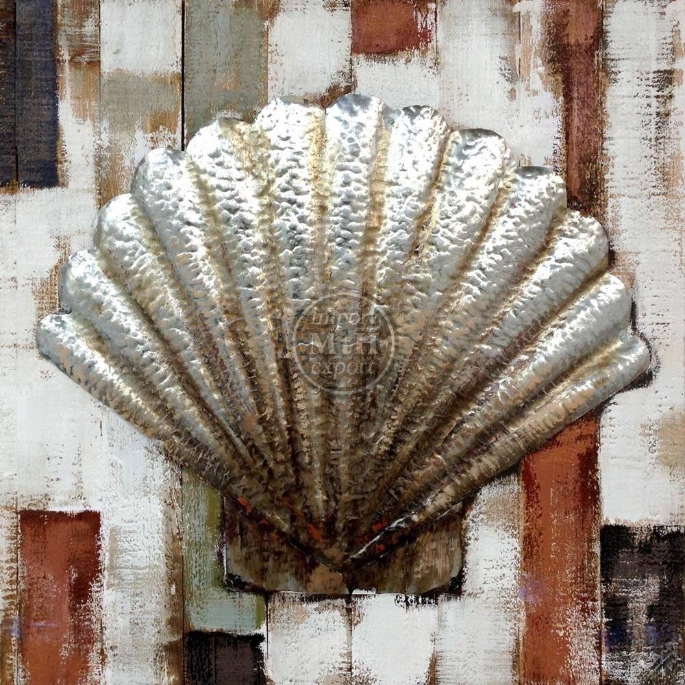 Eliassen Holz-Metall-3D-Malerei 80x80cm Shell