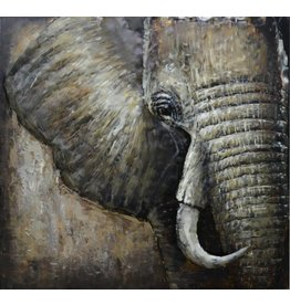 3D-Malerei Metall Elefant 100x100cm