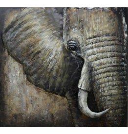 3d painting Metal Elephant 100x100cm