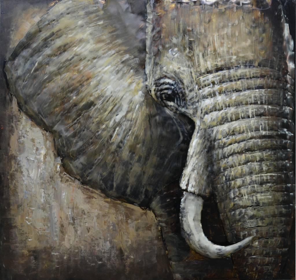 3d schilderij Metaal Olifant 100x100cm