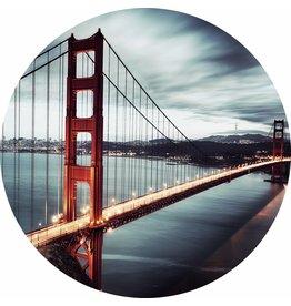Gave Glas schilderij rond Golden Gate dia 100cm