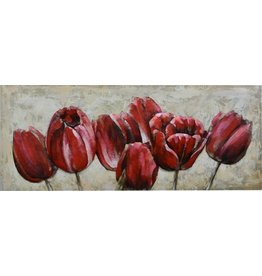 Gave Painting 3d metal 60x150cm Red tulips