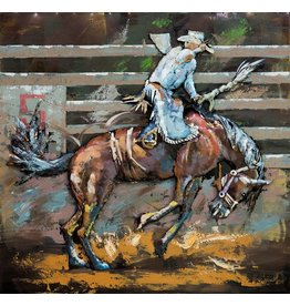 Schilderij 3D metaal 100x100cm Rodeo
