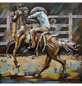 Schilderij 3D metaal 100x100cm Rodeo  2