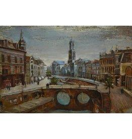 Eliassen Schilderij metaal 3d 80x120cm Oude gracht Utrecht