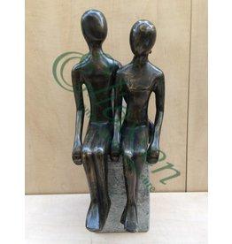 Eliassen Sitzendes Paar XL der Bronzestatue