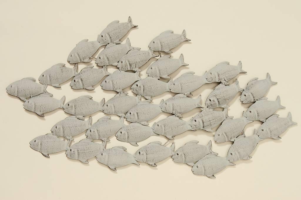 Muurdecoratie metaal 3D Vissenschool