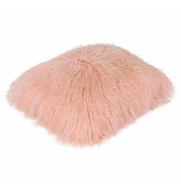 Pillow of Tibetan coat Salmon pink