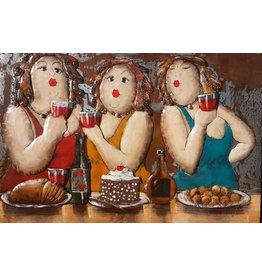 Eliassen Metaalschilderij 3 dames 80x120cm