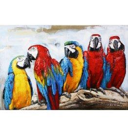 3D-Metall 5 Macaws 80x120cm bemalen
