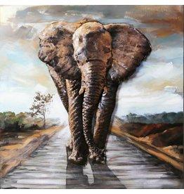 Painting 3d metal Elephant on path 100x100cm