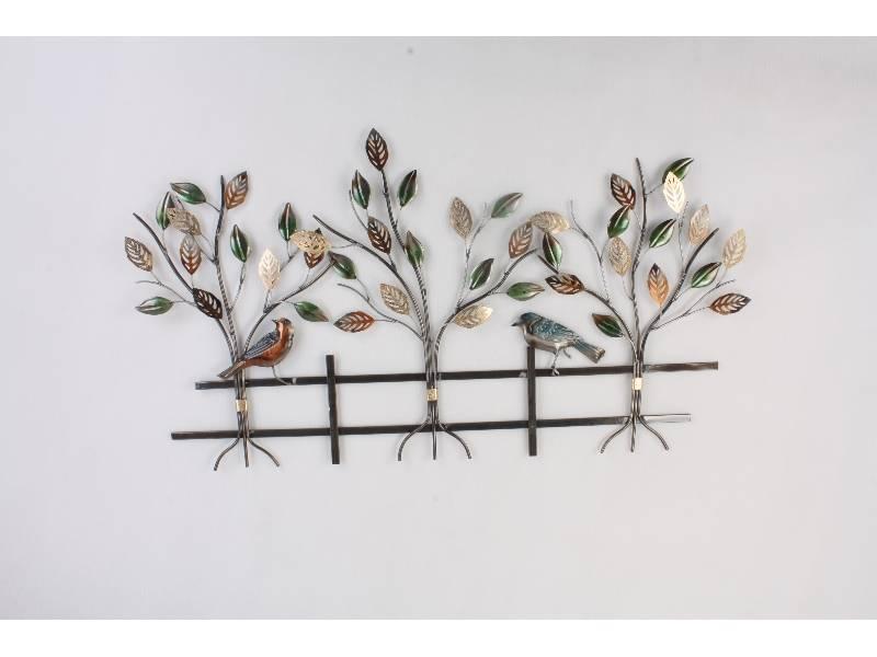 Wanddekoration Bäume mit Zaun 118x64cm