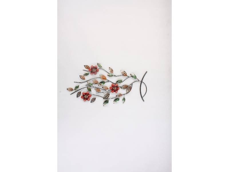 Wanddekoration Zweig mit Blumen 95x53cm