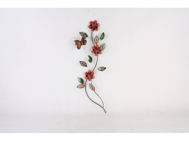 Muur decoratie Tak met bloemen en vlinder 97x33cm