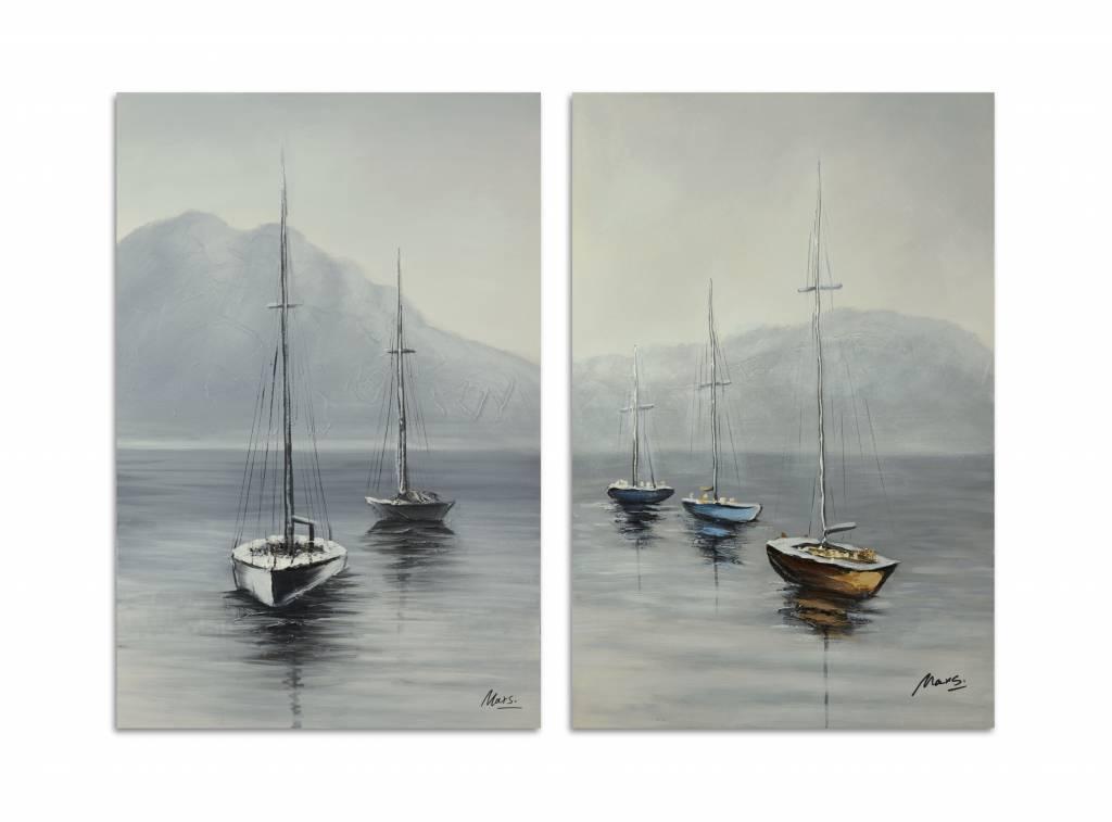 Olieverf schilderij 2 luik Boten 128x94cm