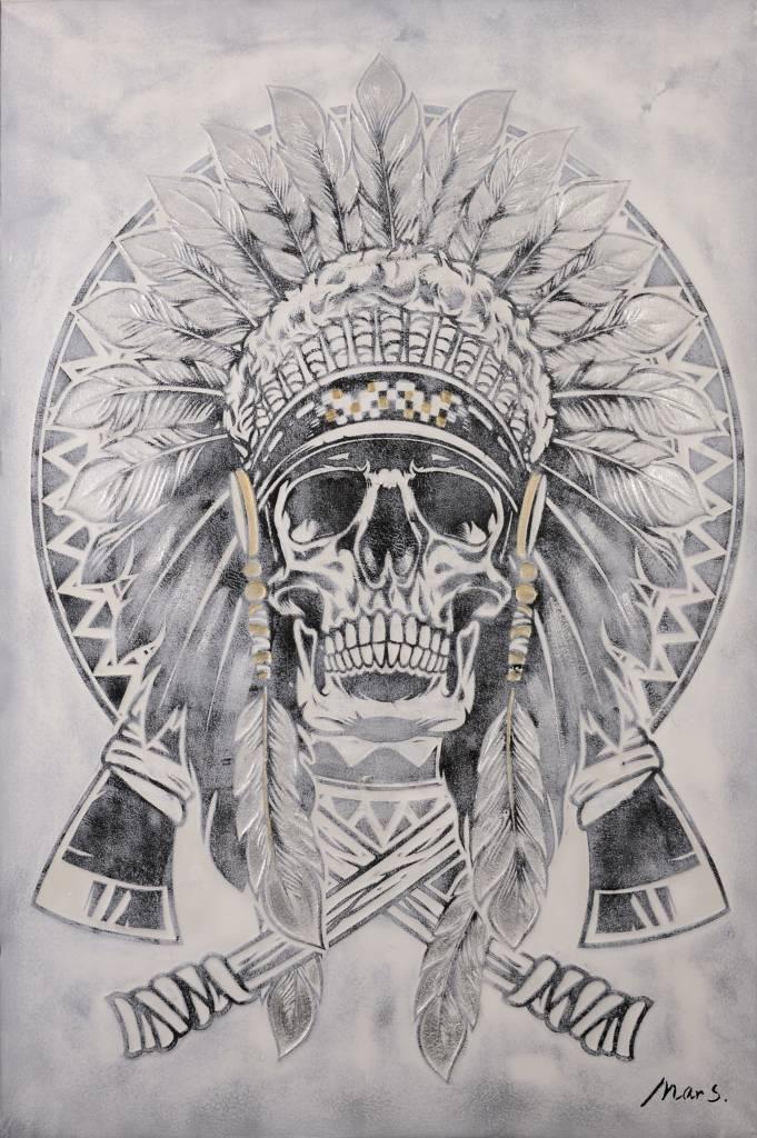 Olieverf schilderij Skull 124x84cm