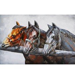 Eliassen 3D schilderij metaal 80x120cm  3 Paarden