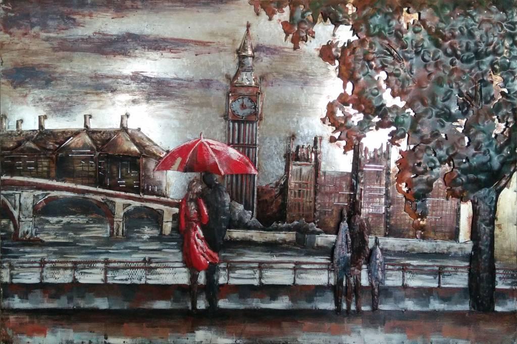 Eliassen 3D schilderij metaal 80x120cm  Londen bij Theems