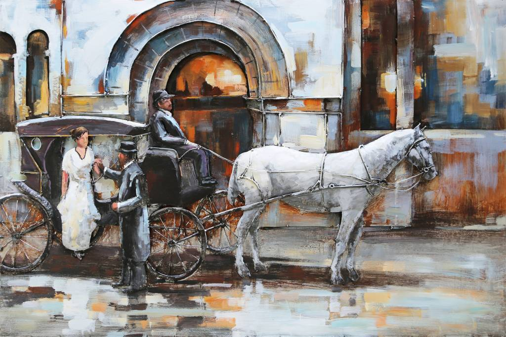 Eliassen 3D schilderij metaal 80x120cm  Paard en Koets