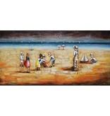 Eliassen 3D schilderij metaal 70x140cm Strand met kinderen