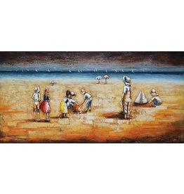 Eliassen 3D painting metal 70x140cm Beach with children